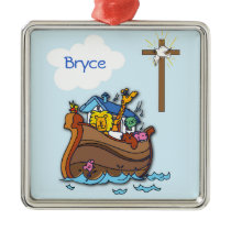 Customizable Noah's Ark Baby Baptism, Boy Blue Metal Ornament