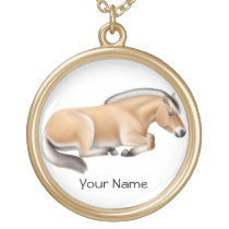 Customizable Norwegian Fjord Horse at Rest Necklac Gold Plated Necklace