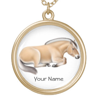 Customizable Norwegian Fjord Horse at Rest Necklac Round Pendant Necklace