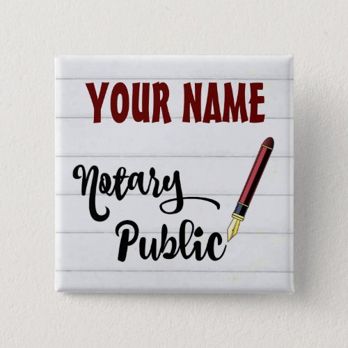 Customizable Notary Public Burgundy Ink Pen 2-inch Square Button