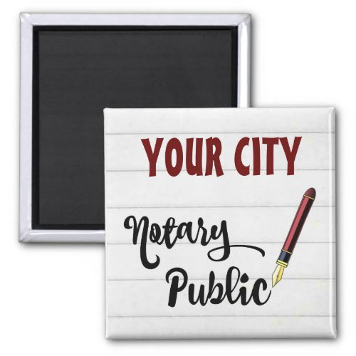 Customizable Notary Public Burgundy Ink Pen 2-inch Square Magnet
