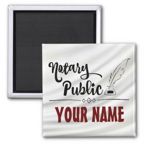 Customizable Notary Public Elegant Feather Quill 2-inch Square Magnet