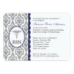 Customizable Nurse Graduation BSN RN blue damask 5x7 Paper Invitation Card
