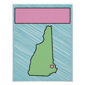Customizable Nursery New Hampshire Name Poster