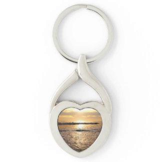 Customizable Ocean Photo Heart Keychain