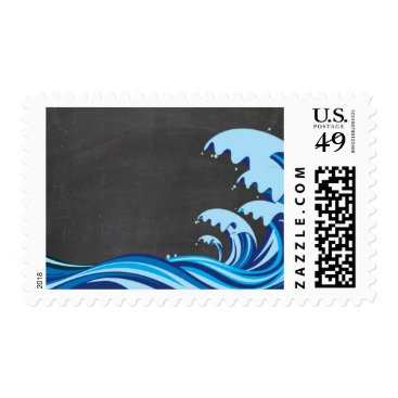 Beach Themed Customizable Ocean Wave Chalk Board Medium Stamp