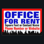 "Customizable Office For Rent Sign /Yard Sign<br><div class=""desc"">Office for rent sign for outdoor use,  window or yard sign. Great for renting your available office space. Bold,  vibrant blue,  black,  white and red custom printed sign.  No minimum quantity.</div>"