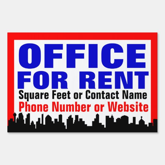 Www For Rent: Customizable Office For Rent Sign /Yard Sign