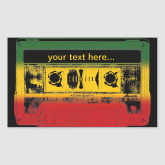 Customizable Old School Reggae Cassette Rectangular Sticker