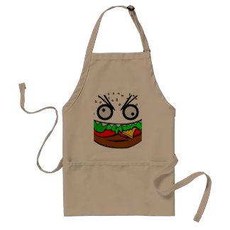 customizable om nom nom burger with teeth face apron