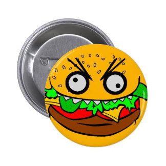 customizable om nom nom burger with teeth face pin