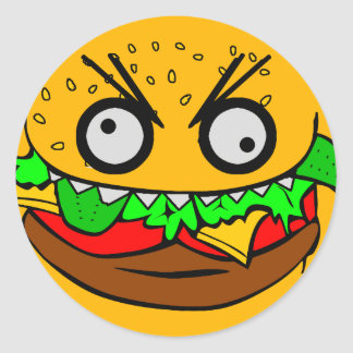 customizable om nom nom burger with teeth face classic round sticker