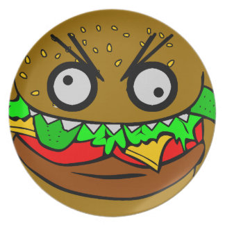 customizable om nom nom burger with teeth face Pla Plate