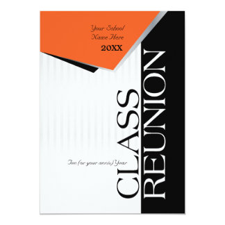 Customizable Orange and Black Class Reunion Card