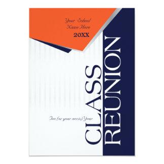 Customizable Orange and Blue Class Reunion 5x7 Paper Invitation Card