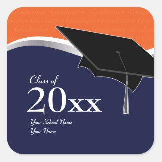 Customizable Orange and Blue Graduation Sticker
