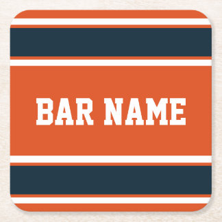 Customizable Orange and Dark Blue Sports Stripes Square Paper Coaster