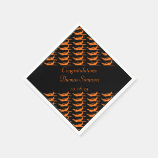 Customizable orange black airplane napkins
