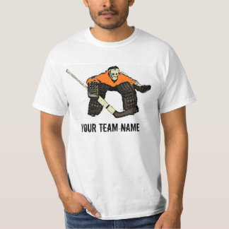 Customizable orange hockey goalie value tee