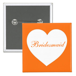 Customizable orange white heart bridesmaid button