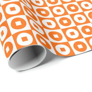 Customizable Orange/White Square-Circle Wrapping Paper