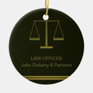 Customizable Ornament with Scales of Justice