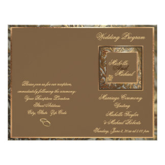 Customizable Ornate Gold Wedding Program Flyer