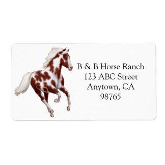 Customizable Overo Paint Horse Avery Label