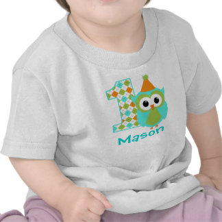 Customizable Owl Boy First birthday shirt one year