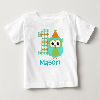 Customizable Owl Boy First birthday shirt one year