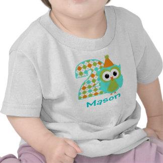 Customizable Owl Boy Second birthday shirt 2 years