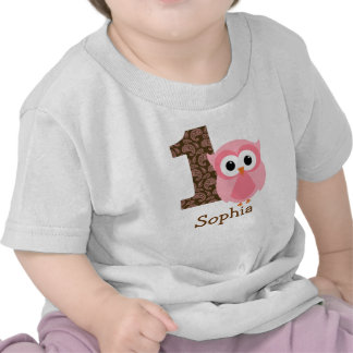 Customizable Owl First birthday shirt one year
