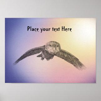 customizable owl in flight poster