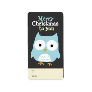 Customizable Owl Merry Christmas Tag Personalized Address Labels