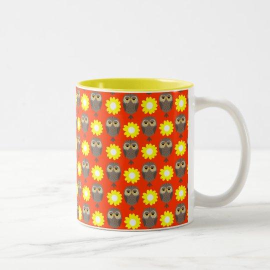 Customizable Owls & Daisies Two-Tone Coffee Mug