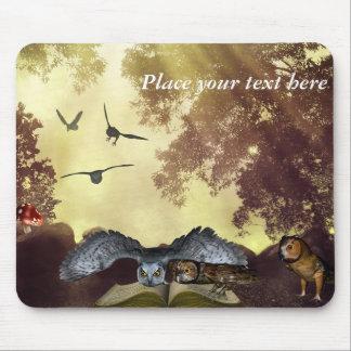 Customizable Owls fantasy book Mousepad