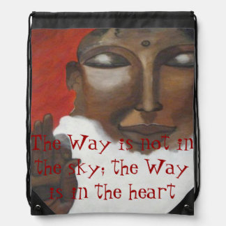 Customizable Painted Buddha face Drawstring Bag
