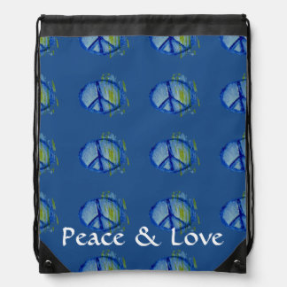 Customizable Painted peace sign Cinch Bag