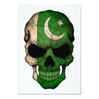 Customizable Pakistani Flag Skull 3.5x5 Paper Invitation Card