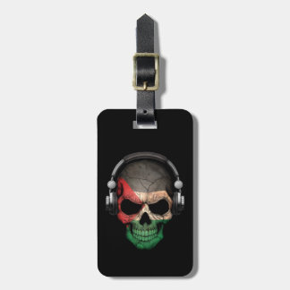 Customizable Palestinian Dj Skull with Headphones Tags For Bags