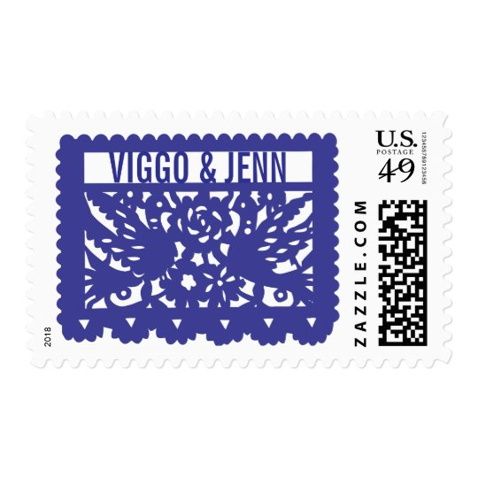 Customizable Papel Picado Flag - Blue Stamp