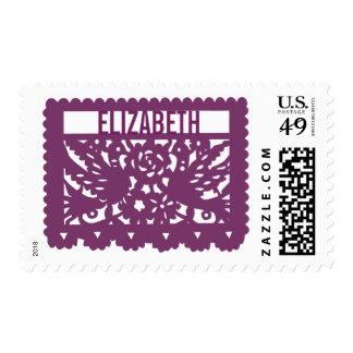 Customizable Papel Picado Flag - Eggplant Postage