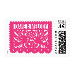 Customizable Papel Picado Flag - Pink Postage Stamp
