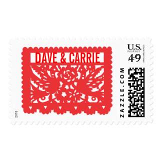 Customizable Papel Picado Flag - Red Postage
