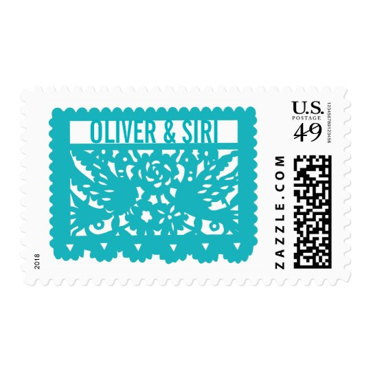 Customizable Papel Picado Flag - Turquoise Postage