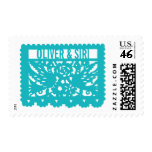Customizable Papel Picado Flag - Turquoise Stamps