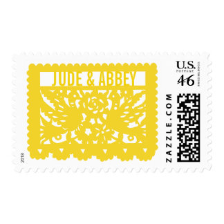 Customizable Papel Picado Flag - Yellow Postage Stamp