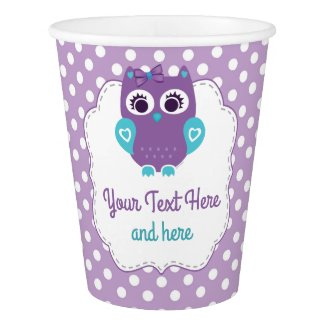 Customizable Paper Cup Purple Teal Owl Girl