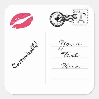 Customizable Paris Postcard Square Sticker