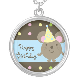 Customizable Party Mouse Happy Birthday Necklace